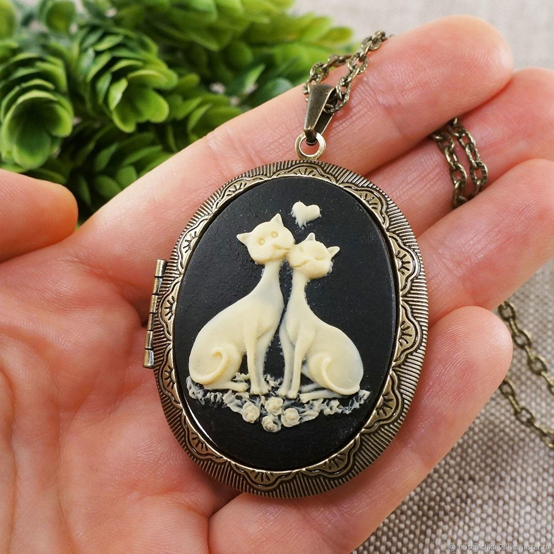 Медальон Камея Кот и Кошка влюбленные bronze, Подвеска, Москва,  Фото №1