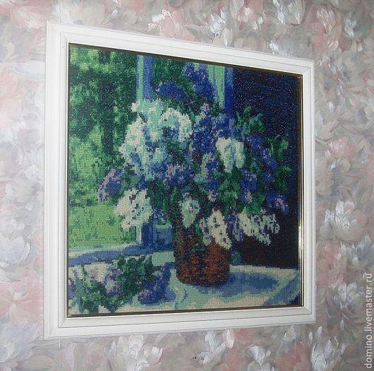 """Картины цветов ручной работы. Ярмарка Мастеров - ручная работа. Купить Картина вышивка крестом """"Сирень в моем окне"""". Handmade."""