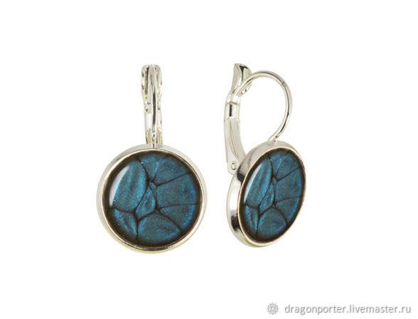 Classic earrings cobalt blue 'Blue silver', Earrings, Moscow,  Фото №1