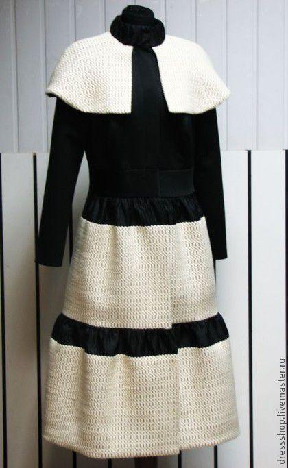 Верхняя одежда ручной работы. Ярмарка Мастеров - ручная работа. Купить Пальто черно-белое зимнее. Handmade. Чёрно-белый