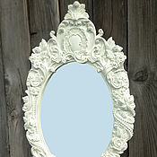 Для дома и интерьера ручной работы. Ярмарка Мастеров - ручная работа Зеркало в деревянной раме, стиль прованс.. Handmade.