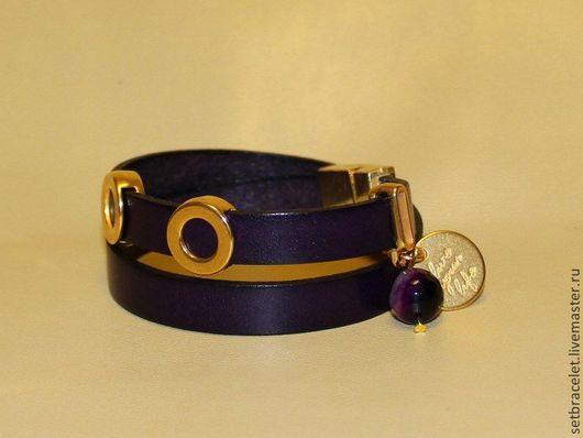 Браслеты ручной работы. Ярмарка Мастеров - ручная работа. Купить Женский кожаный браслет, темно-фиолетовый плоский шнур 10мм. Handmade.