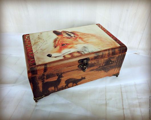 шкатулка для украшений шкатулка с лисой деревянная шкатулка подарок купить купить в Москве