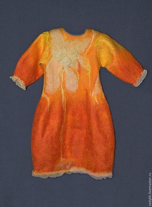 """Платья ручной работы. Ярмарка Мастеров - ручная работа. Купить платеце валяное  """"Огневушка"""". Handmade. Оранжевый, ярмарка мастеров, огонь"""
