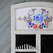 Для дома и интерьера ручной работы. Ярмарка Мастеров - ручная работа Зеркало-окно `Птица-царица` с расписным панно. Handmade.
