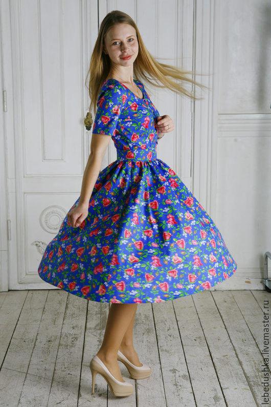 """Платья ручной работы. Ярмарка Мастеров - ручная работа. Купить Миди платье """"Аксинья"""". Handmade. Комбинированный, миди платье, на пуговицах"""