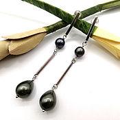 Украшения handmade. Livemaster - original item Long thin earrings with black pearls