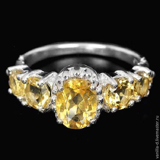 Кольца ручной работы. Ярмарка Мастеров - ручная работа. Купить Серебряное кольцо с цитринами 925 проба. Handmade. Кольцо