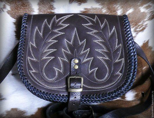 Женские сумки ручной работы. Ярмарка Мастеров - ручная работа. Купить кожаная черезплечная сумка. Handmade. Кожаная сумка, вышивка