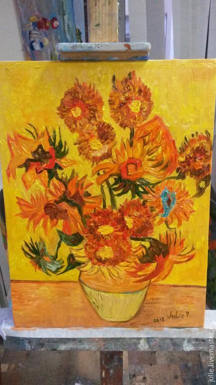 Картины цветов ручной работы. Ярмарка Мастеров - ручная работа. Купить Подсолнухи, Ван Гог, реплика. Handmade. Подсолнухи, натюрморт