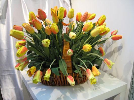 Цветы ручной работы. Ярмарка Мастеров - ручная работа. Купить корзина тюльпанов. Handmade. Цветы ручной работы, тюльпаны