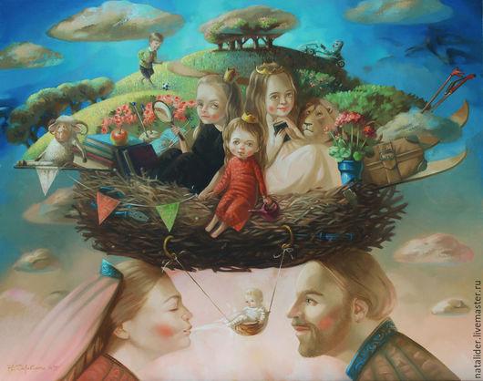 Фантазийные сюжеты ручной работы. Ярмарка Мастеров - ручная работа. Купить Картина Семейное гнездо (сказочный портрет). Handmade. Голубой