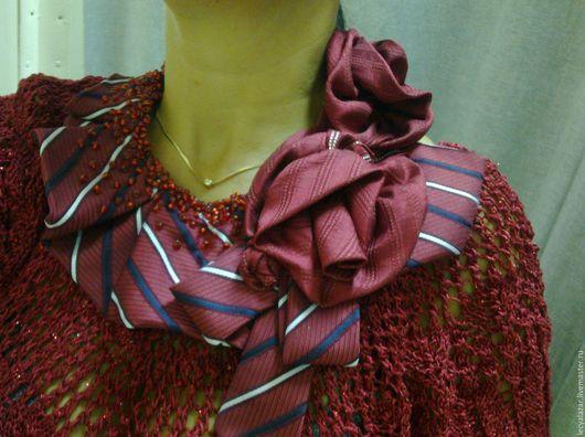 Воротнички ручной работы. Ярмарка Мастеров - ручная работа. Купить Украшение из винтажных галстуков. Handmade. Бордовый, воротничок съемный