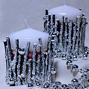 """Сувениры и подарки ручной работы. Ярмарка Мастеров - ручная работа """"Зимний лес"""" Авторские Новогодние свечи. Handmade."""