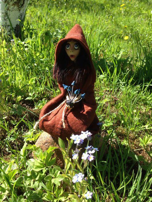 Сказочные персонажи ручной работы. Ярмарка Мастеров - ручная работа. Купить Лесная ведьмочка с волшебными грибами. Handmade. Зеленый, волшебница