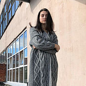 Одежда handmade. Livemaster - original item coat: Women`s handmade knitted coat in grey. Handmade.