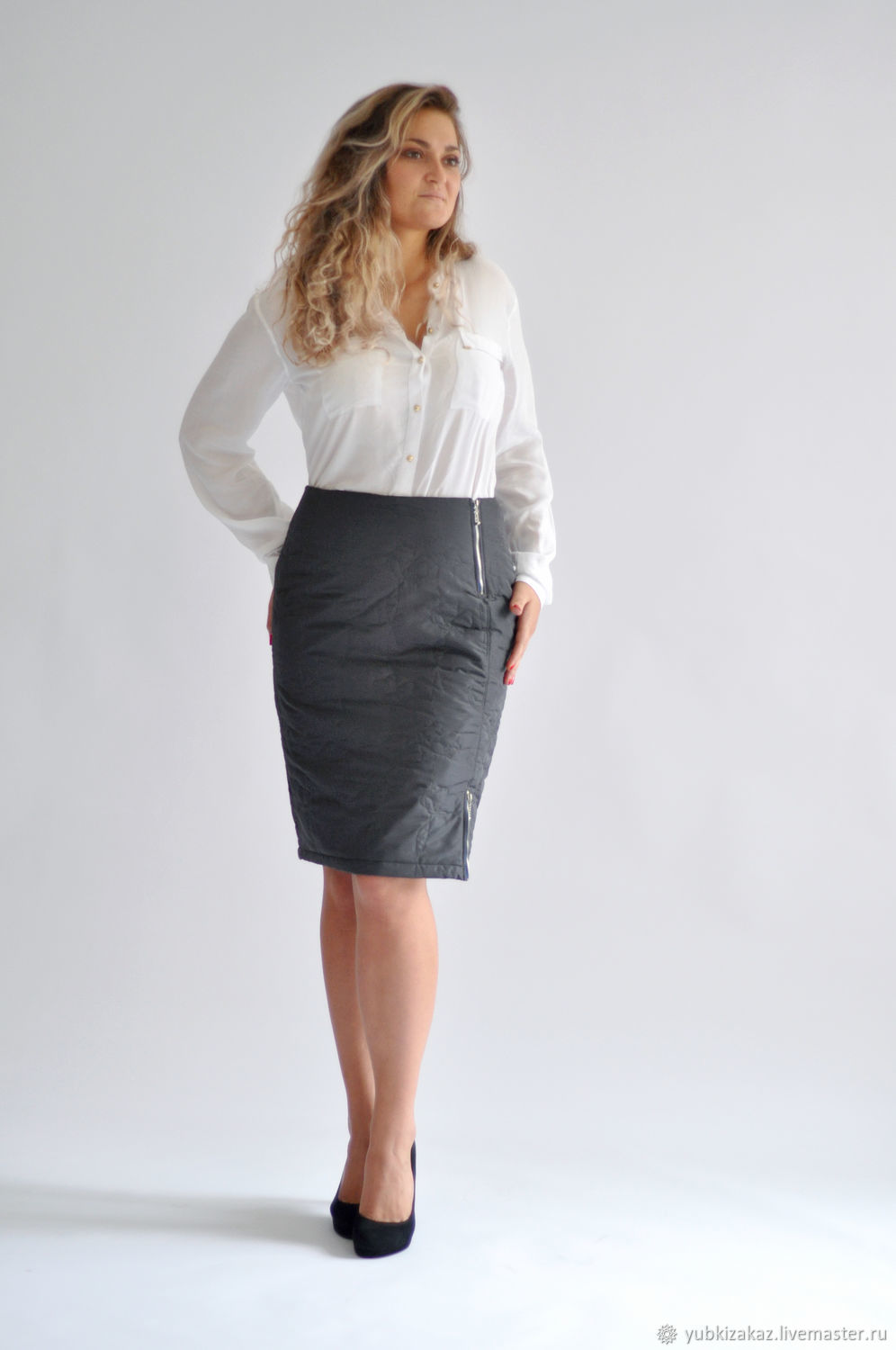 Quilted skirt with snaps, grey, Skirts, Novosibirsk, Фото №1