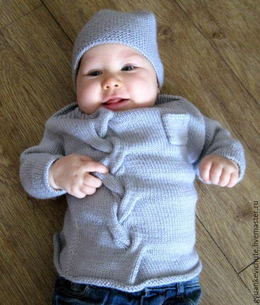 Одежда унисекс ручной работы. Ярмарка Мастеров - ручная работа. Купить Пуловер детский с косой из детской альпаки с шелком. Handmade.