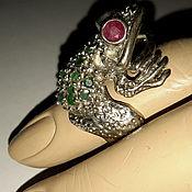Винтаж handmade. Livemaster - original item Ring FROG serebro925 emeralds rubies vintage. Handmade.
