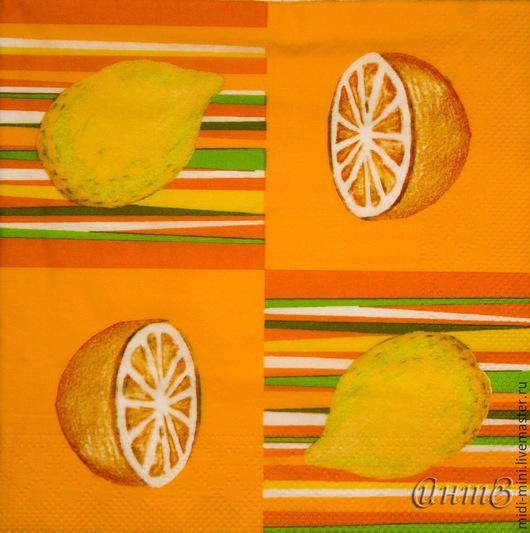 Декупаж и роспись ручной работы. Ярмарка Мастеров - ручная работа. Купить салфетка для декупажа лимоны апельсины принт. Handmade.