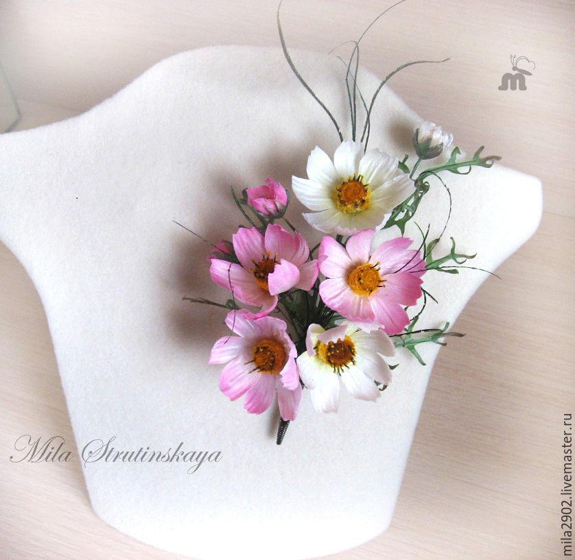 Брошь из шелка Космеи  Цветы из шелка, Цветы, Санкт-Петербург,  Фото №1