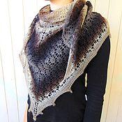 Аксессуары handmade. Livemaster - original item Knitted shawl, openwork shawl, Smoky chocolate. Handmade.