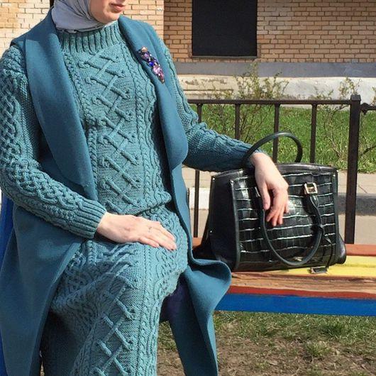Платья ручной работы. Ярмарка Мастеров - ручная работа. Купить Вязаное платье. Handmade. Платье, араны, платье зеленое
