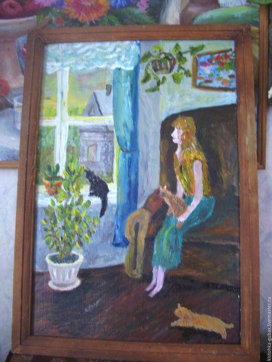 Люди, ручной работы. Ярмарка Мастеров - ручная работа. Купить девушка и кошки. Handmade. Комбинированный, окно, Фанера 3 мм