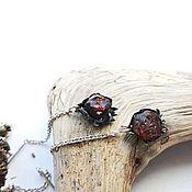 Earrings handmade. Livemaster - original item Earrings broach with garnet. Handmade.