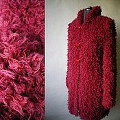"""Одежда ручной работы. Ярмарка Мастеров - ручная работа Кардиган вязаный пряжа под мех """"Малиновый мусс"""". Handmade."""