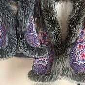 Одежда ручной работы. Ярмарка Мастеров - ручная работа Жилеты для мамы и дочки из павловопосадского платка с чернобуркой. Handmade.