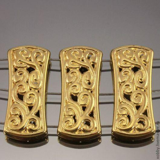 Бусина металлическая - коннектор-разделитель на 3 нити ажурный с растительным орнаментом в этническом стиле для сборки многорядных колье и браслетов
