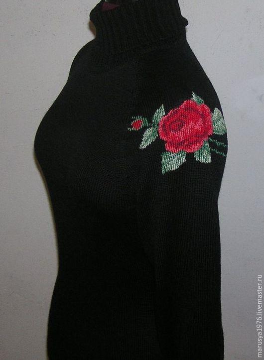 Кофты и свитера ручной работы. Ярмарка Мастеров - ручная работа. Купить Водолазка с вышивкой. Роза.. Handmade. Рисунок