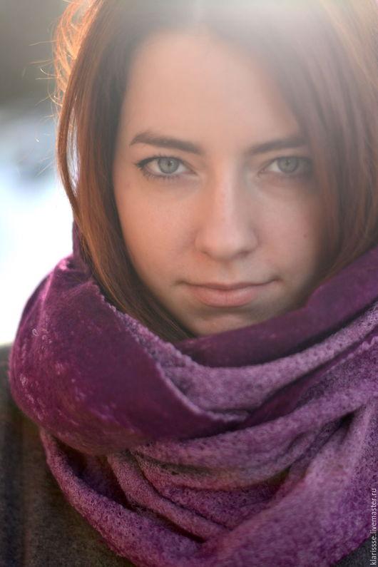 Шарфы и шарфики ручной работы. Ярмарка Мастеров - ручная работа. Купить Шарф снуд, шарф-труба фиолетовый пурпур  весенний. Handmade.