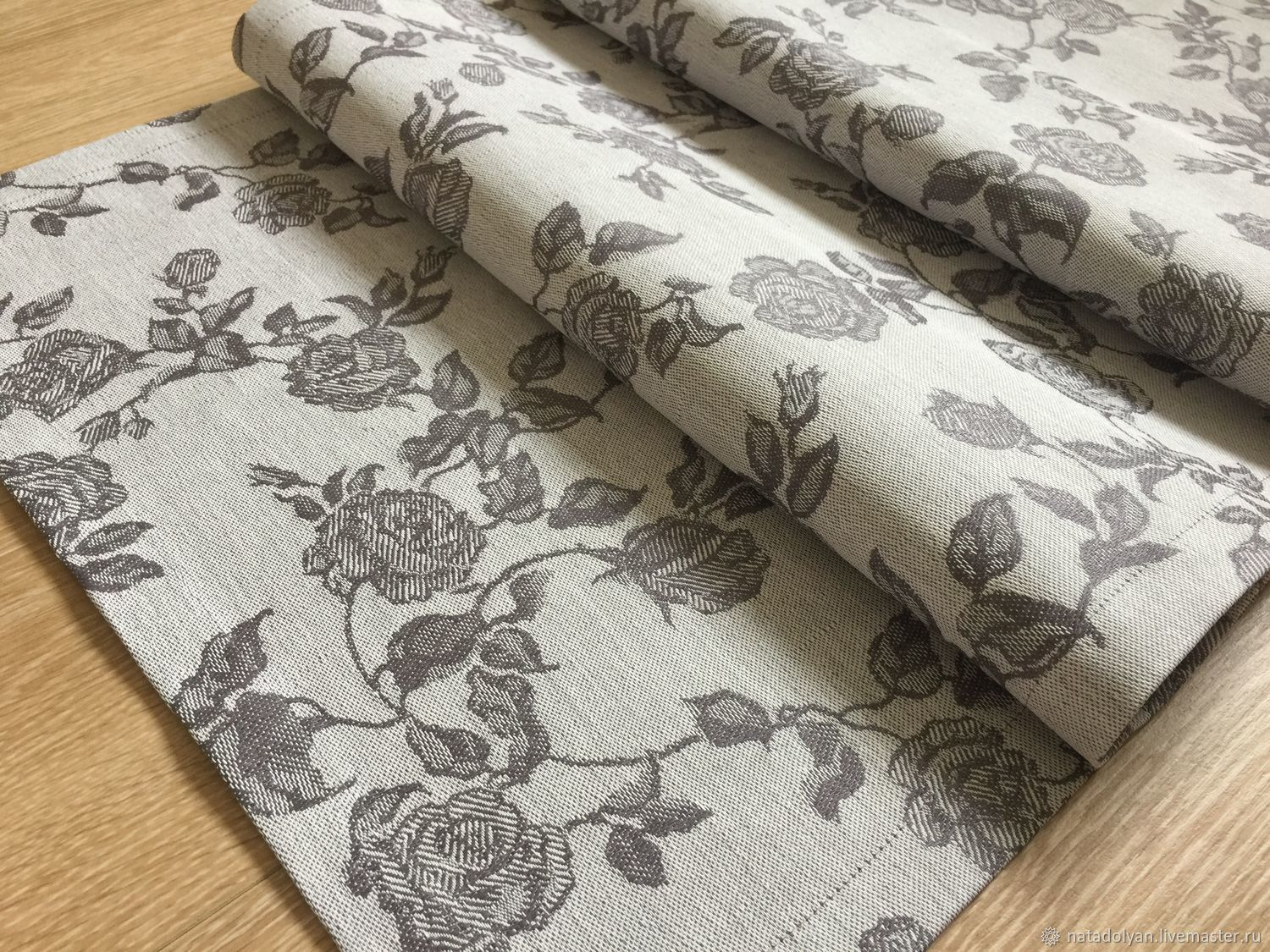 Track linen 'Roses on grey' in stock, Tablecloths, Ivanovo,  Фото №1
