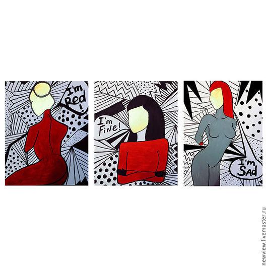Фантазийные сюжеты ручной работы. Ярмарка Мастеров - ручная работа. Купить Триптих настроений. Handmade. Чёрно-белый, модерн