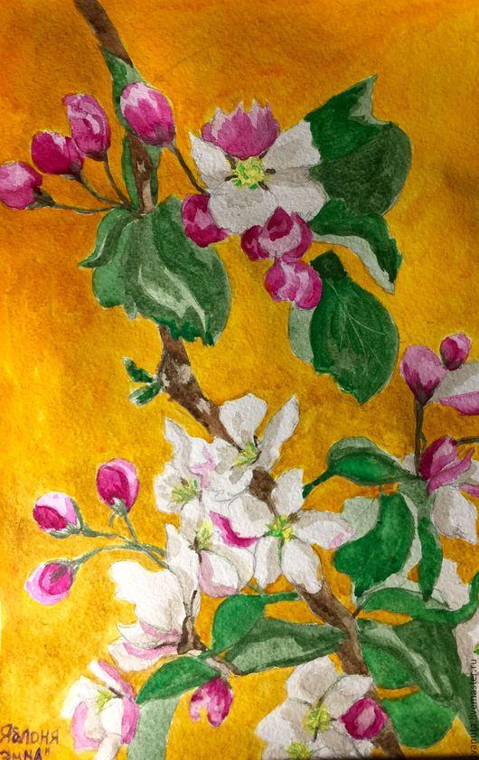 Пейзаж ручной работы. Ярмарка Мастеров - ручная работа. Купить Май. Handmade. Комбинированный, акварельная живопись, акварельные цветы, акварель