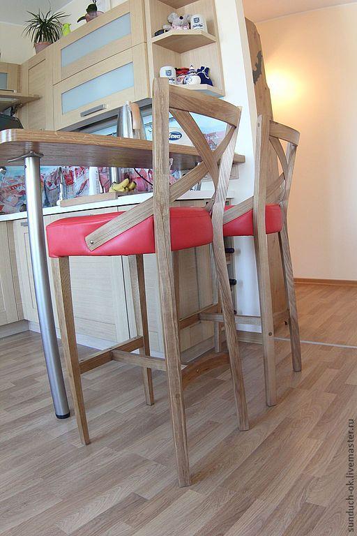 Мебель ручной работы. Ярмарка Мастеров - ручная работа. Купить Барный стул. Handmade. Ярко-красный, кожа