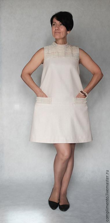 Платья ручной работы. Ярмарка Мастеров - ручная работа. Купить Платье в стиле 60-х  ДЖЕЛАТО. Handmade. Молочный цвет
