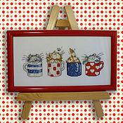 Для дома и интерьера handmade. Livemaster - original item Cross stitch Funny kittens. Handmade.