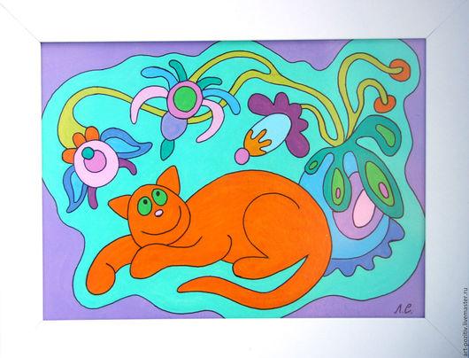 Животные ручной работы. Ярмарка Мастеров - ручная работа. Купить Позитивная картинка Котик. Handmade. Комбинированный, маленькая картина
