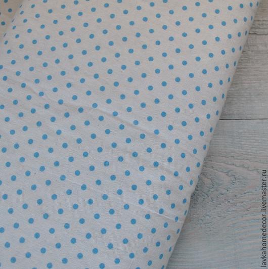 Лен натуральный Горох голубой, 50х50см, 1513