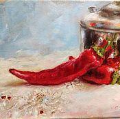 Картины и панно ручной работы. Ярмарка Мастеров - ручная работа Этюд с чайником и красным перцем. Handmade.