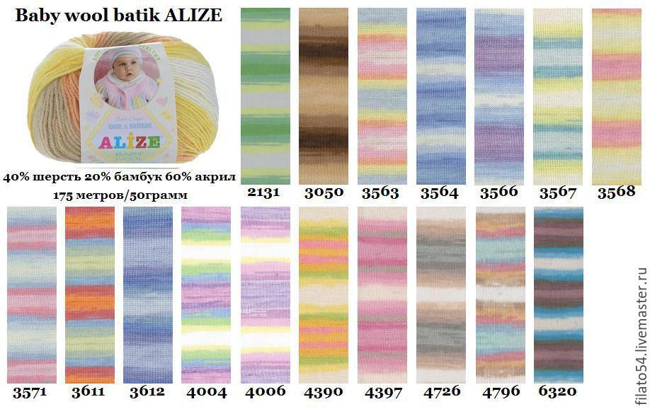 Узор схема нитки беби батик ализе сокерин