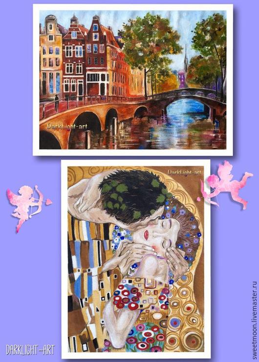 Текстильные купоны ручная роспись- Амстердам и `Поцелуй` (Г.Климт)
