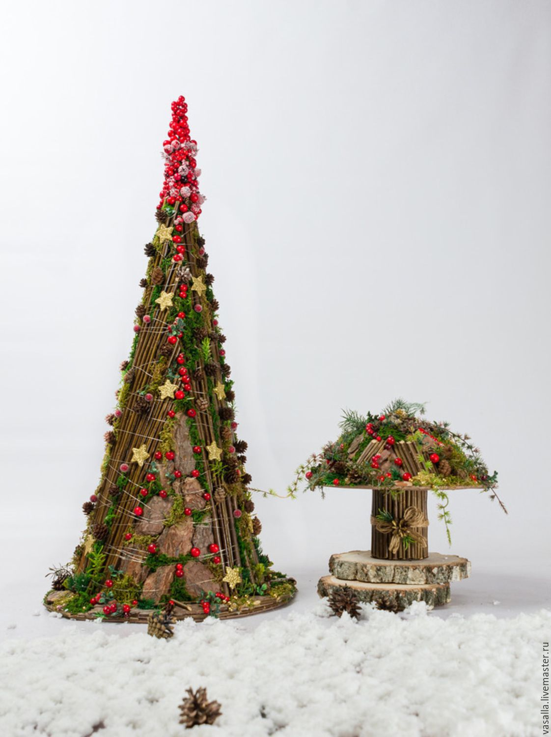Interior tree 'New year at cranberry bumps', Tree, Moscow, Фото №1