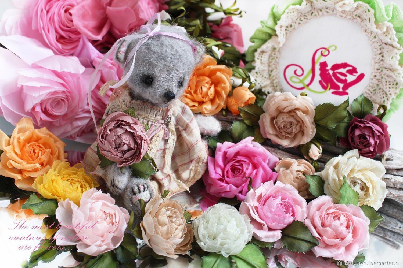 Маленькие шелковые розочки для кукол и плюшевых мишек, Брошь-булавка, Киев,  Фото №1