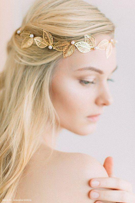 Свадебные украшения ручной работы. Ярмарка Мастеров - ручная работа. Купить Золотые листочки в причёске. Handmade. Невеста, жемчуг