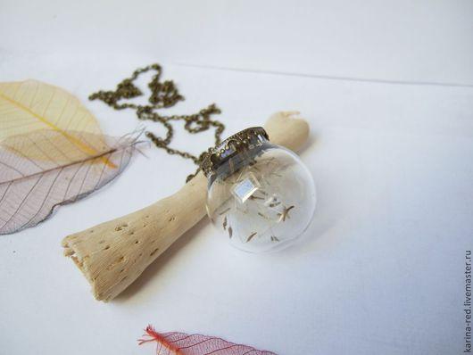 купить кулон с настоящими зонтиками одуванчика кулон из одуванчика кулон с одуванчиком кулон шарик пустой с цветами одуванчиком украшения эко бохо