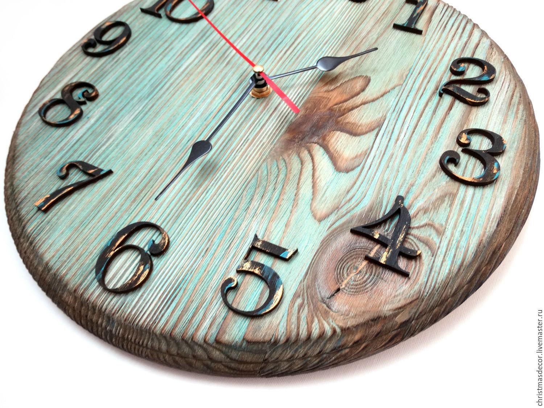 Оригинальные деревянные настенные часы, интересные часы настенные из дерева, домашний уют, кантри, лофт, подарки из леса в дом, интерьерные часы, бирюзовый, голубой, коричневый, шоколадный декор дома